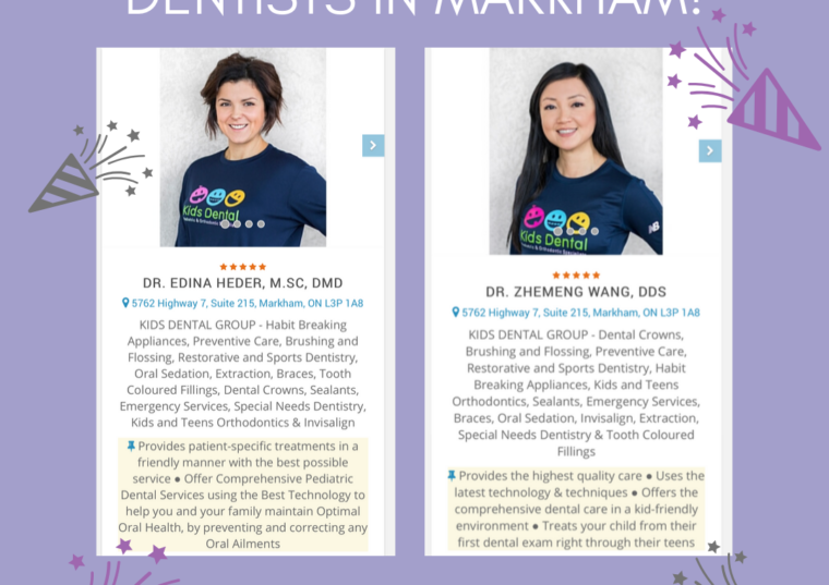 Dr. Heder & Dr. Zee Named as Top 3 Best Children Dentists in Markham by ThreeBestRated!